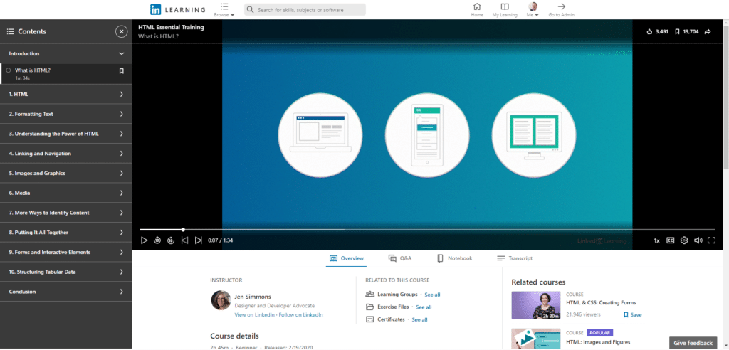 LinkedIn Learning Course Interface