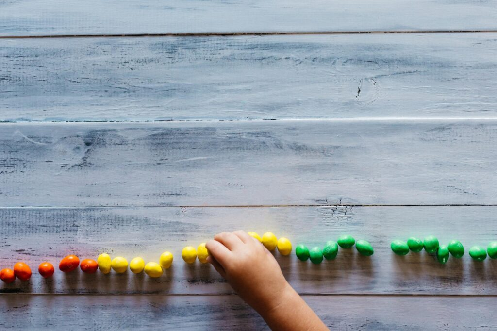 Child with blocks on a tableplaying