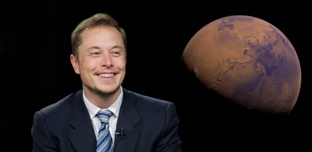 Elon Musk and a picture of Mars
